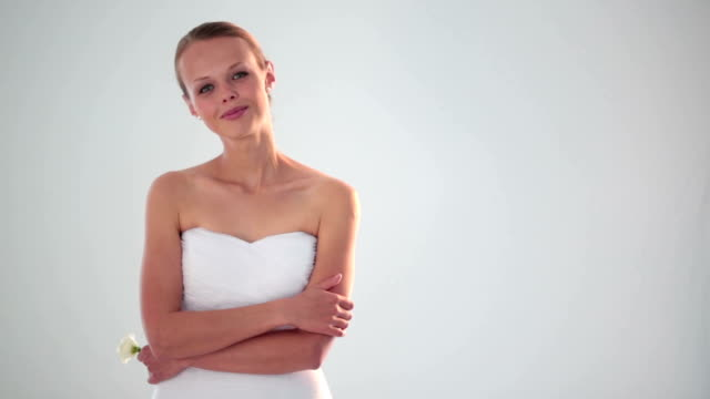 Portrait of gorgeous bride on her wedding day video