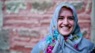 Portrait of happy muslim girl video
