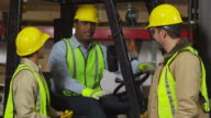Portrait of industry workers in shipping warehouse video