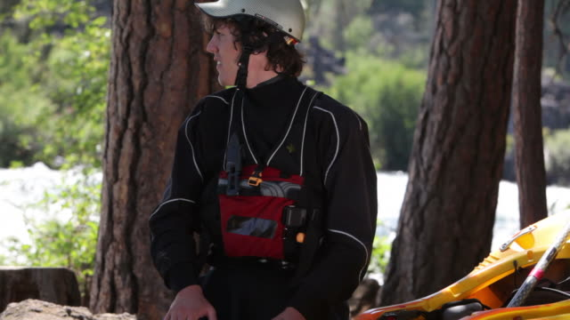 Portrait of kayaker by river video