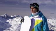 Portrait of male snowboarder video