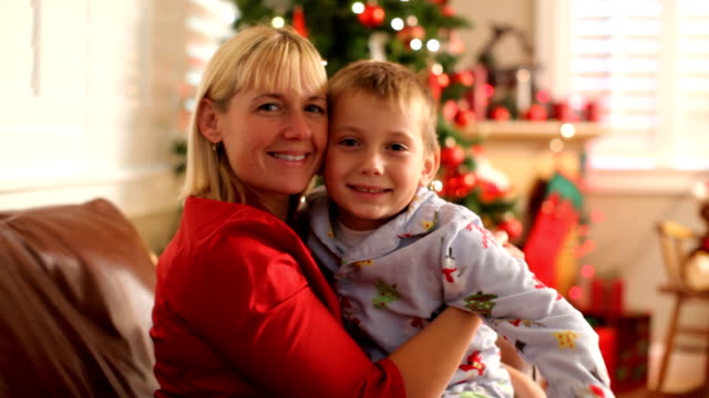 Portrait of Mother and son on Christmas morning video