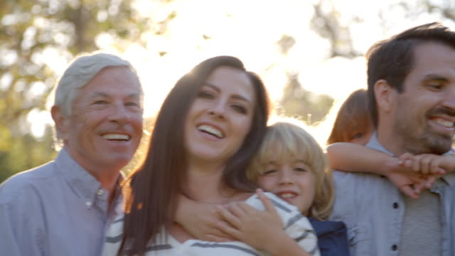 Portrait Of Multi Generation Family Standing In Park video