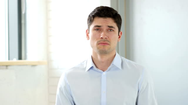 Portrait of Sad Man Crying video