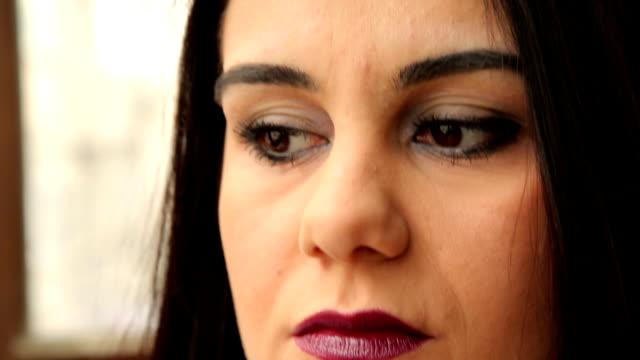 Portrait of sadness woman close-up video