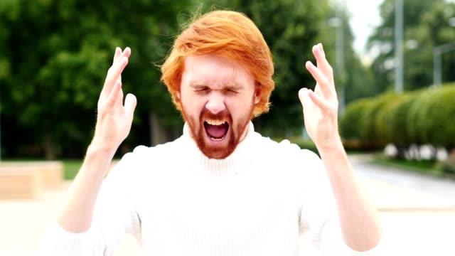 Portrait of Screaming Upset Man in Office, Outdoor video