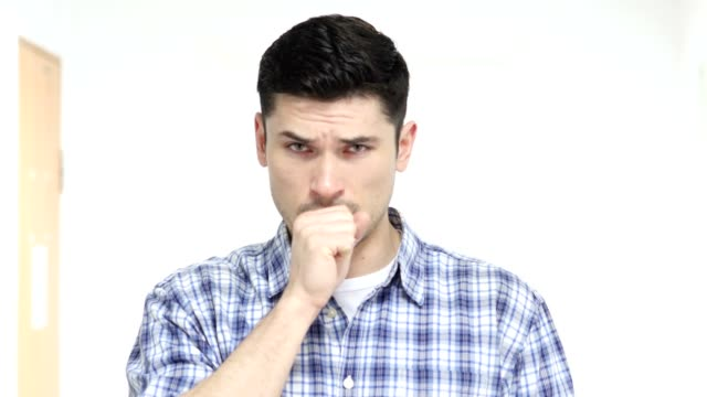 Portrait of Sick Man Coughing, Cough video