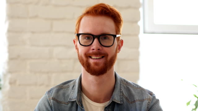 Portrait of Smiling Man w/ Red Hairs and Beard video