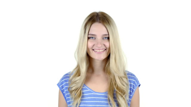 Portrait Of Smiling Woman , White Background video