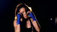 Portrait of the boxing girl. 4K video