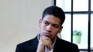 Portrait of Thinking Pensive Black Businessman video