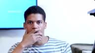 Portrait of Thinking Pensive Black Man video