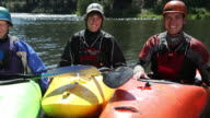 Portrait of three kayakers video