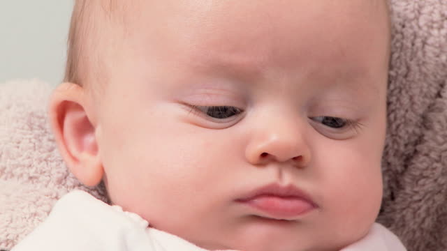 Portrait of three month old baby video