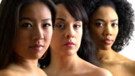 Portrait of three strong diverse women video