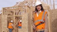 Portrait of woman construction worker video