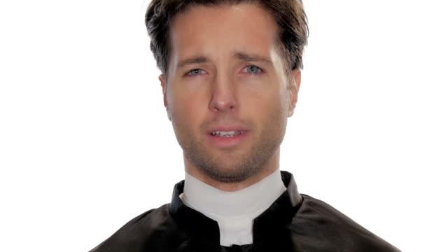 portrait of worried catholic priest video