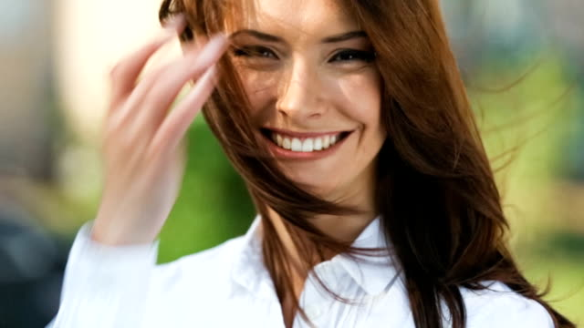 HD(720p30): Portrait of young happy woman outdoors video