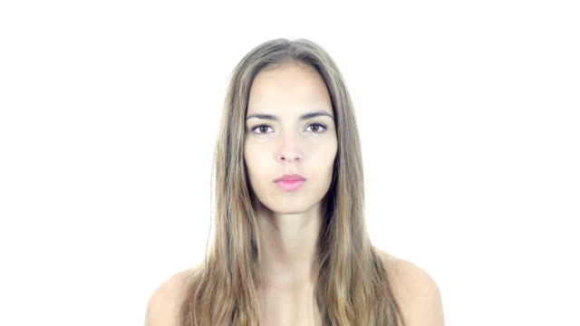 Portrait Of  Young Woman , White Background video