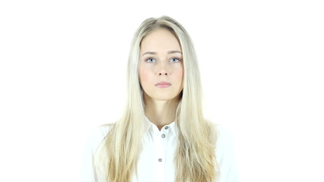 Portrait Of Young Woman, White Background video