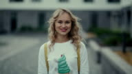 Portrait of youth russian woman. Pretty blonde in fashionable clothes video