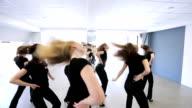Portrait view of young women dancing in model school video