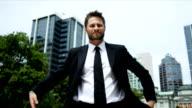 Portrait Young Caucasian Businessman City Background video
