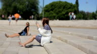 Portugal, Lisbon, september, 2015 - Teenage girl takeing photo at the amphitheater of Belem in Portugal video