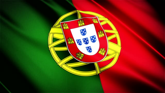 Portugal realistic national flag seamless looped waving animation video