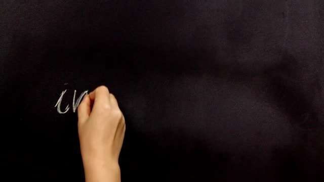 Positive thinking, writing correct on a blackboard video