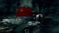 Post apocalyptic scene - Soviet flag video