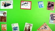 Postage stamps on a green screen video