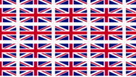 Postcards with United Kingdom national flag looped video