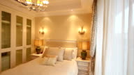 Postmodern luxury bedroom and decoration, Real time. video