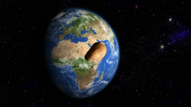 Potato orbiting the slowly rotating Earth video