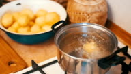 Potatoes Flies into a Pot of Boiling Water in the Home Kitchen. Slow Motion video