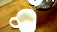 Pouring a cup of coffee. Carafe, coffee cup. Cafe. video