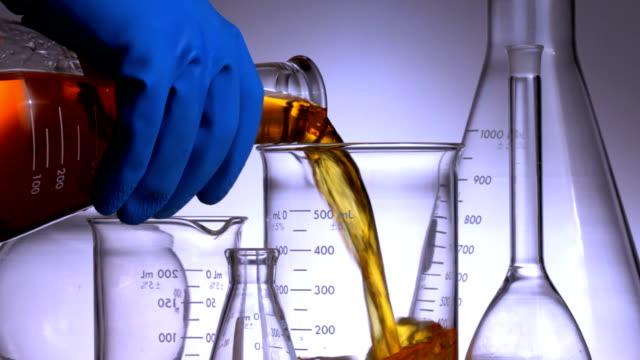 Pouring biofuel into laboratory beaker video