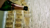 Pouring champagne in the champagne flutes video