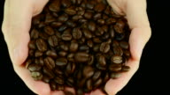 Pouring coffee beans. Front view video