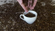 pouring coffee beans in a cup video