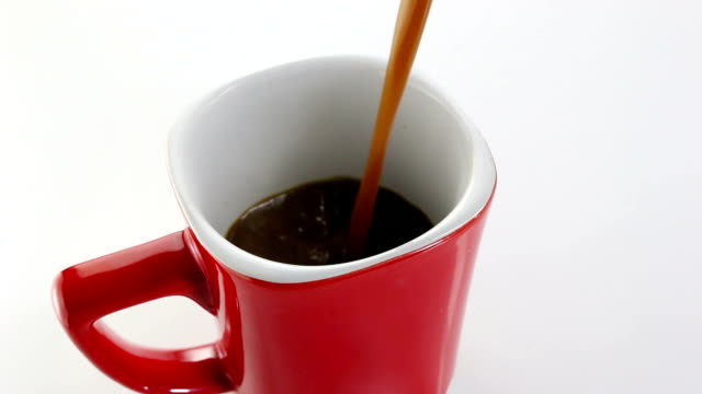 Pouring coffee into cup video
