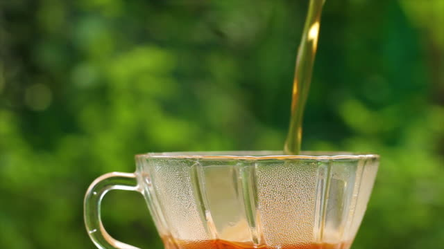 Pouring Hot Tea in glass tea cup  with green nature background, sunlight in the morning in Thailand video