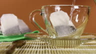 Pouring hot water into a tea cup video