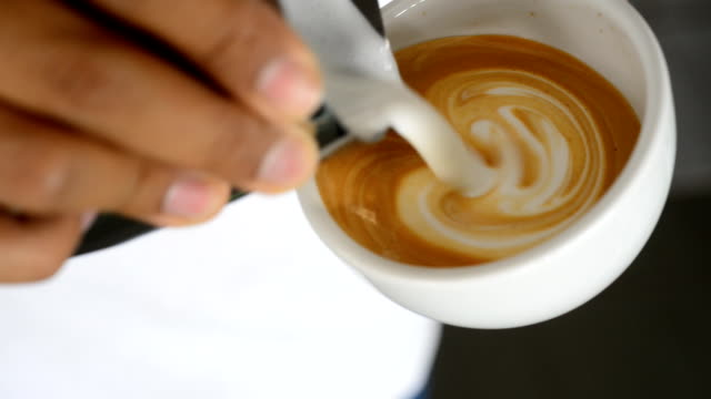 Pouring latte art video