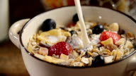 Pouring Milk into Bowl with Muesli Cereals video