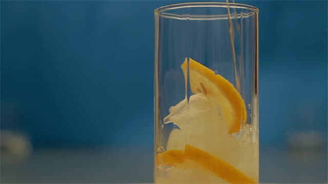 Pouring mineral water into a glass video
