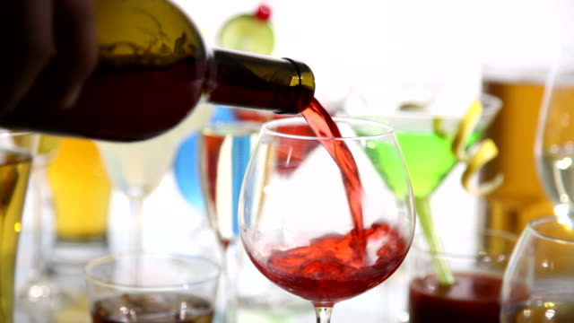 Pouring red wine video
