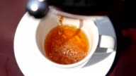 Pouring Tea in a Cup on Table, Close up video