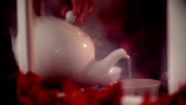 Pouring Tea into cup on Autumn Day video